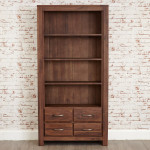 Baumhaus Mayan Solid Walnut Large 4 Drawer Bookcase CWC01A