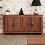 Baumhaus Mayan Solid Walnut Large Low Sideboard CWC02B
