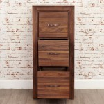 Baumhaus Mayan Solid Walnut 3 Drawer Filing Cabinet CWC07B