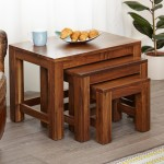 Baumhaus Mayan Solid Walnut Nest of Coffee Tables CWC08A