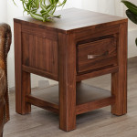 Baumhaus Mayan Solid Walnut 1 Drawer Lamp Table CWC10A