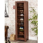 Baumhaus Mayan Solid Walnut Tall Shoe Cupboard CWC20E