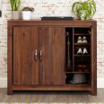 Baumhaus Mayan Solid Walnut Extra Large Shoe Cupboard CWC20F