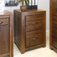 Baumhaus Mayan Solid Walnut 2 Drawer Filing Cabinet CWC07A