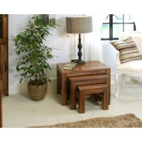 Baumhaus Mayan Solid Walnut Nest of 3 Coffee Tables CWC08A
