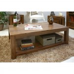 Baumhaus Mayan Solid Walnut Open Coffee Table CWC08C