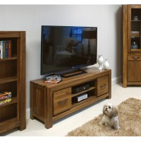 Baumhaus Mayan Solid Walnut Low Widescreen TV Cabinet CWC09A
