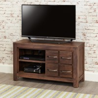 Baumhaus Mayan Solid Walnut Four Drawer TV Cabinet CWC09D