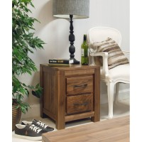 Baumhaus Mayan Solid Walnut 2 Drawer Lamp Table CWC10B