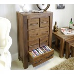 Baumhaus Mayan Solid Walnut DVD / CD Storage Chest CWC17B