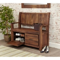 Baumhaus Mayan Solid Walnut Monks Bench with Shoe Storage CWC20B
