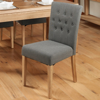 Dining Chair - Pair of Baumhaus Slate Linen Fabric Dining Chairs COR03E