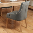 Dining Chair - Pair of Baumhaus Oak Dining Chairs - Slate Grey COR03F
