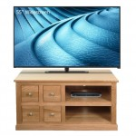 TV Cabinet Oak Mobel TV Stand with 4 Drawers COR09A by Baumhaus