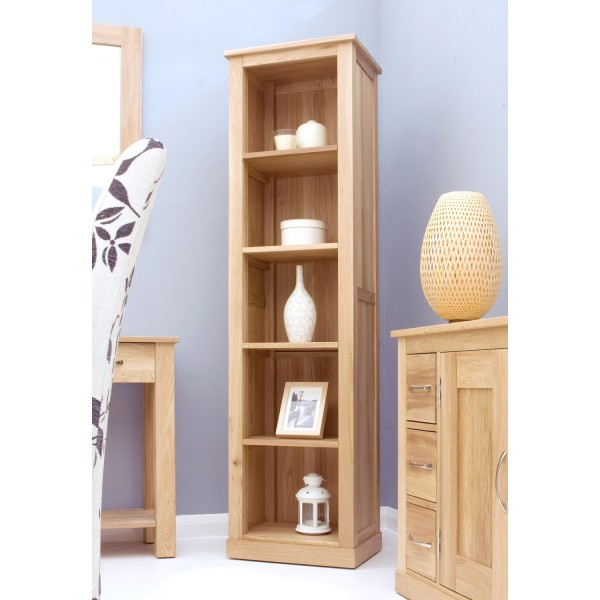 baumhaus mobel solid oak narrow bookcase cor01d baumhaus mobel solid oak