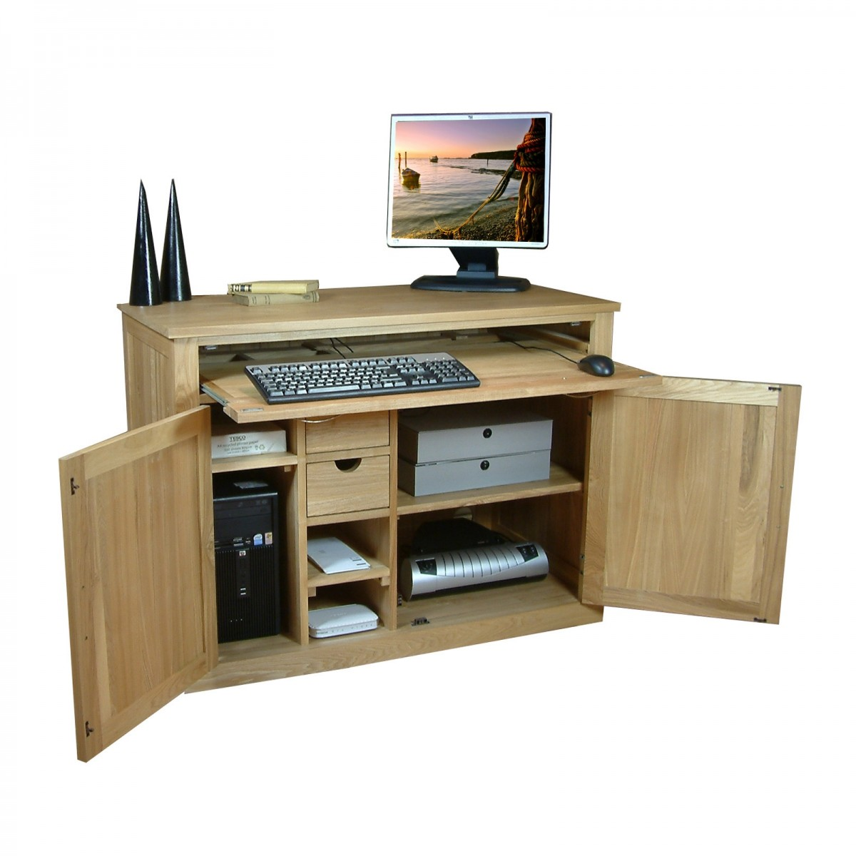 baumhaus hidden home office 2. computer desk bureau baumhaus mobel oak cor06a hidden home office 2