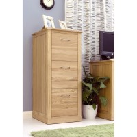 Baumhaus Mobel Solid Oak 3 Drawer Filing Cabinet COR07D