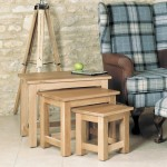 Baumhaus Mobel Solid Oak Nest of 3 Coffee Tables COR08A