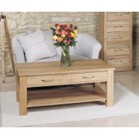 Baumhaus Mobel Solid Oak Four Drawer Coffee Table COR08D