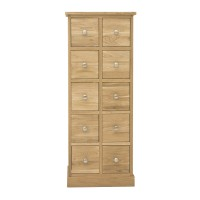 Baumhaus Mobel Solid Oak Multi-Drawer DVD / CD Storage Chest COR17C