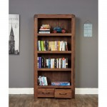 Baumhaus Shiro Walnut Large 2 Drawer Bookcase CDR01A