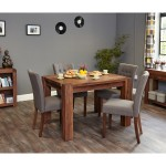 Small Dining Table with 4 Dining Chairs Baumhaus Shiro Walnut CDR04A