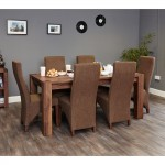 Large Dining Table with 6 Dining Chairs Baumhaus Shiro Walnut CDR04C