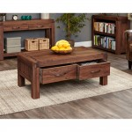 Baumhaus Shiro Walnut Four Drawer Coffee Table CDR08C