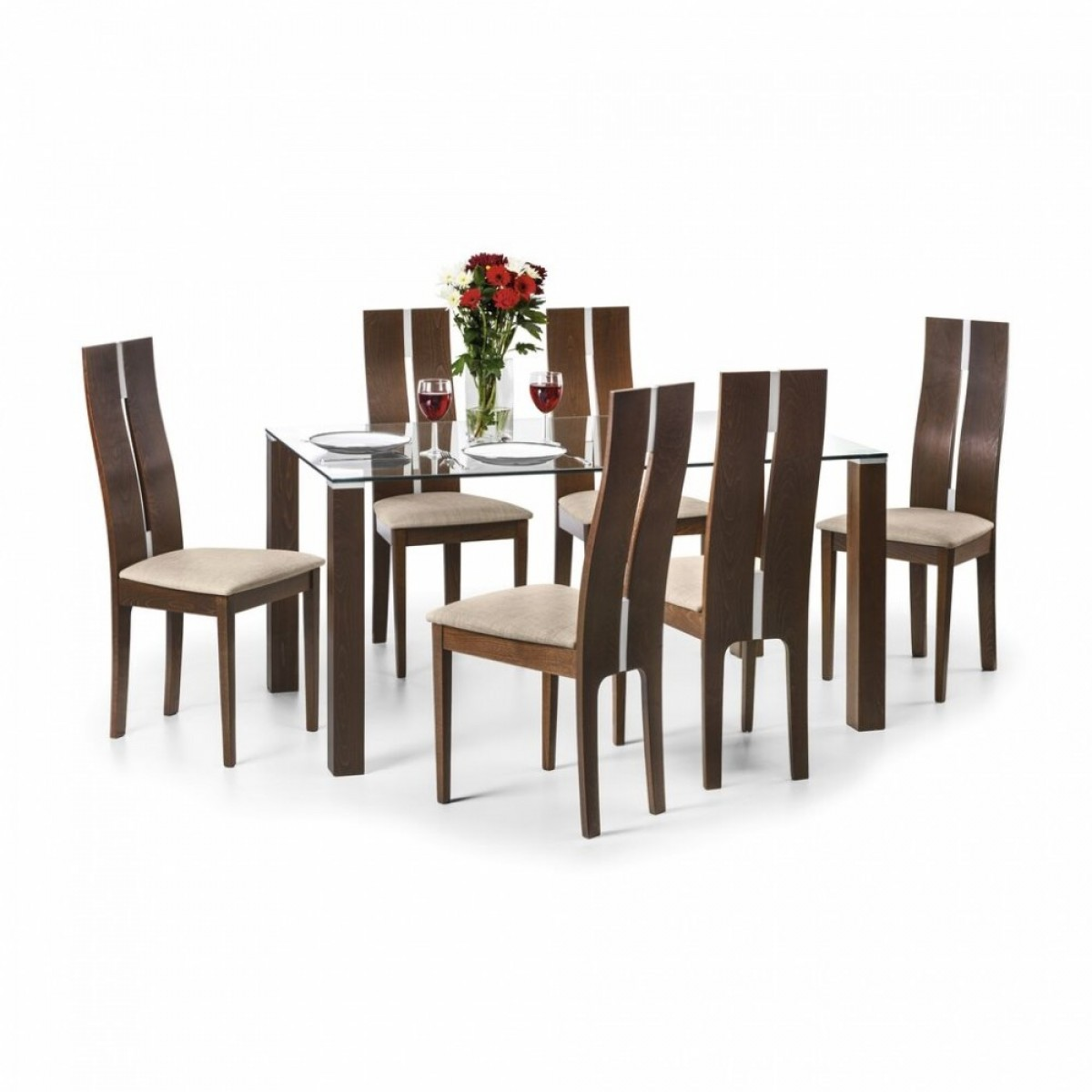 Dining set julian bowen cayman dining set cay101 cay102 6 for Dining table and 6 chairs