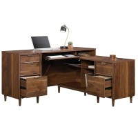 Home Office Desks - Clifton Place L-Shaped Walnut Office Desk 5421120