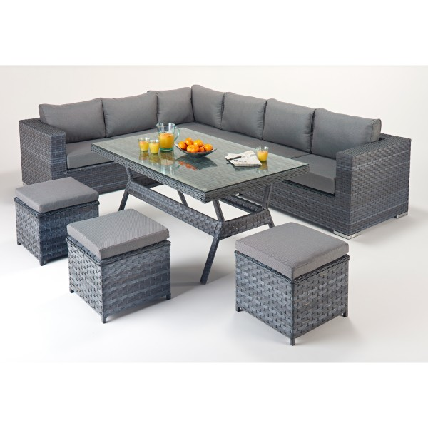 Rattan Set - Platinum Corner Sofa Dining Set WGF-504 - Left Hand