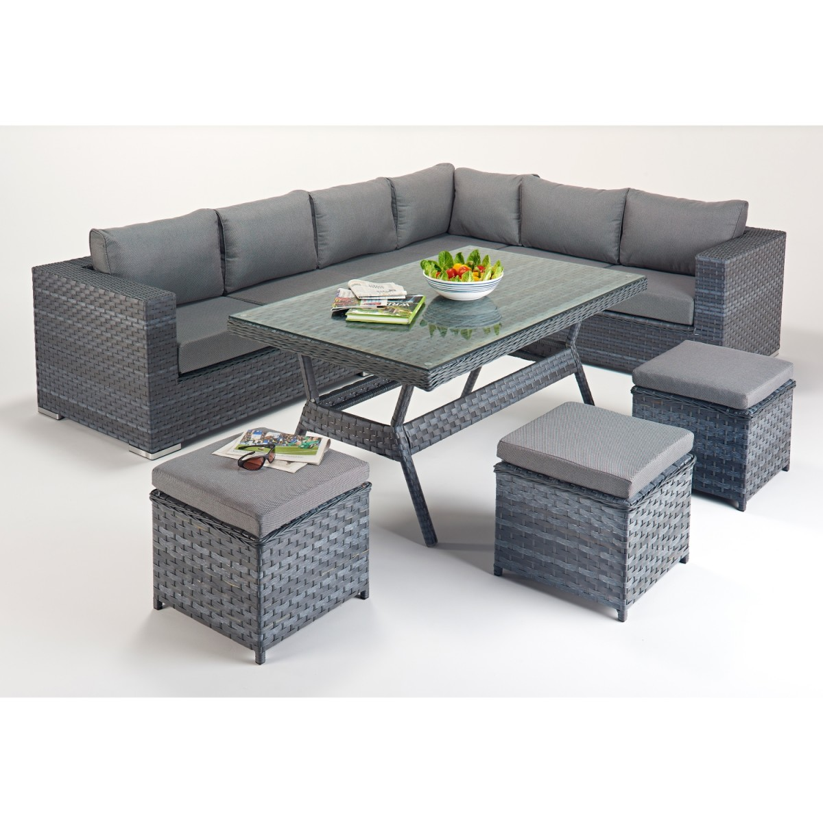 Rattan set platinum corner sofa dining set wgf 513 right for Corner dining set
