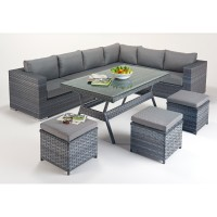 Rattan Set - Platinum Corner Sofa Dining Set WGF-513 - Right Hand