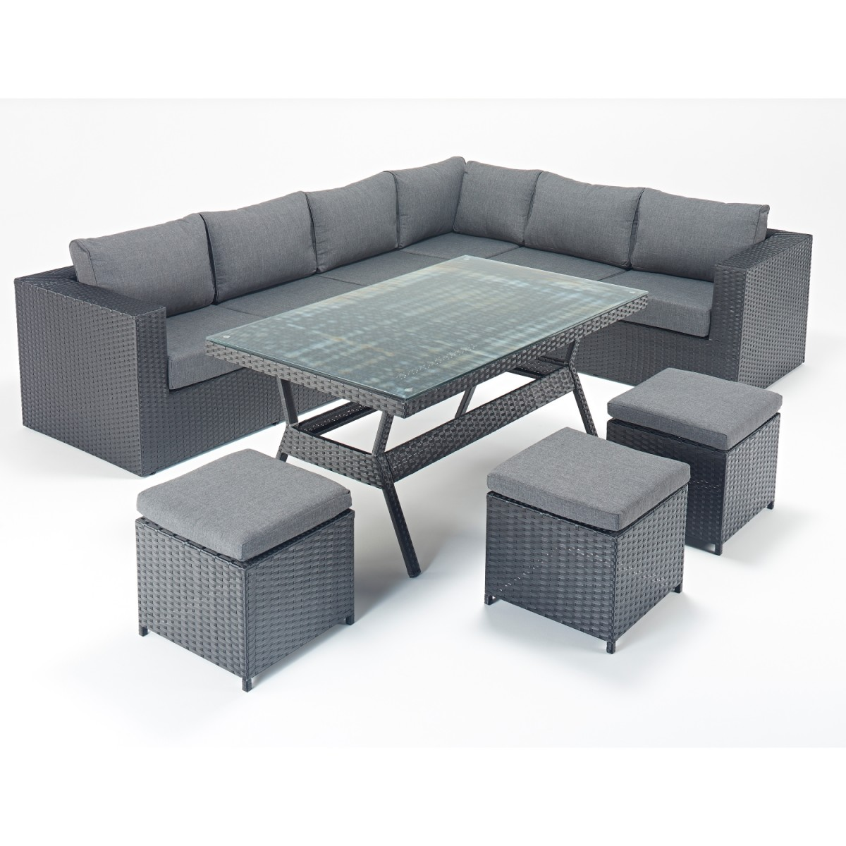 Rattan set prestige corner sofa dining set wgf 313 right for Corner dining set