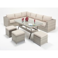 Rattan Set - Rustic Corner Sofa Dining Set WGF-404 - Left Hand