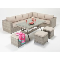 Rattan Set - Rustic Corner Sofa Dining Set WGF-413 - Right Hand
