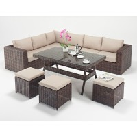 Rattan Set - Windsor Corner Sofa Dining Set WGF-2704 - Left Hand