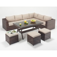 Rattan Set - Windsor Corner Sofa Dining Set WGF-2713 - Right Hand