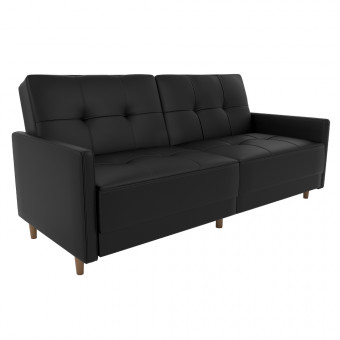 Double Sofa Bed Black Faux Leather Andora Two Seater Sofa Bed 2146009UK by Dorel