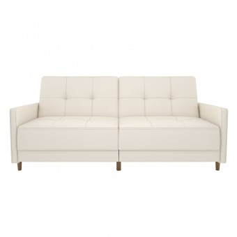 Double Sofa Bed White Faux Leather Andora Two Seater Sofa Bed 2146109UK by Dorel