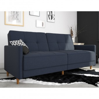Double Sofa Bed Navy Linen Andora Two Seater Sofa Bed 2146629UK by Dorel