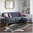 Corner Sofa Blue Bowen L Shaped Sofa DA036SEC-BLUK by Dorel
