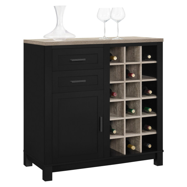Bar Cabinet Wine Storage Black and Oak Carver 5277296PCOM by Dorel