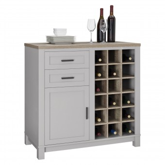Bar Cabinet Wine Storage Grey and Oak Carver 5277196COM by Dorel