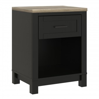 Bedside Cabinet Black Carver Bedroom Night Stand 5989196COMUK by Dorel