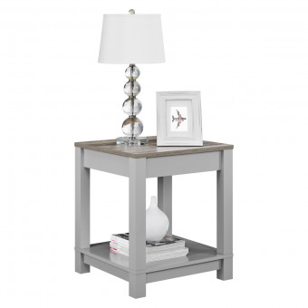 Lamp Table Grey and Oak Carver End Table 5046096COM by Dorel