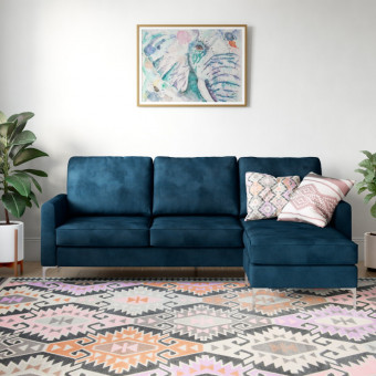 Corner Sofa Blue Chapman L Shaped Sofa DA037SEC-BLUK by Dorel