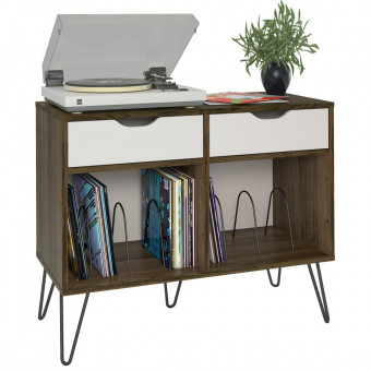 Turntable Stand Brown Oak Concord with White Drawers 1323322COM by Dorel
