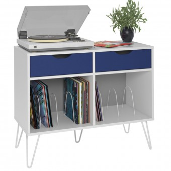 Turntable Stand White Concord with Blue Drawers 1323817COM by Dorel