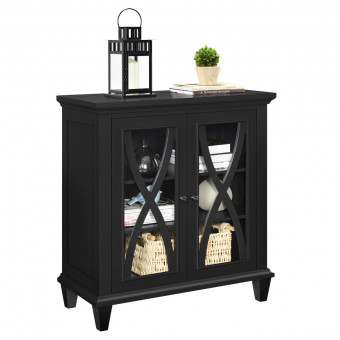 Storage Cabinet Black Ellington Small 2 Door Cupboard 5042196COM by Dorel